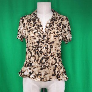 Allison Taylor L Brown Black Animal Print Top Ruff